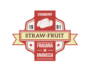 Modern Premium Activity Badge - Organic Strawberry Fruit Product Label
