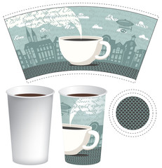 paper cup for tea or coffee with a picture of the old town