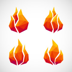 Low poly fire icons