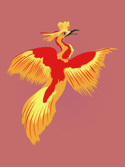 Reborn Phoenix pop art drawing. Fire bird drawing with black dotted red background. Cartoon illustration of legendary Phoenix.