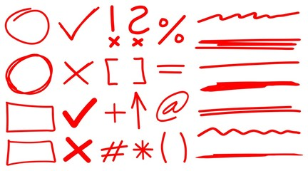 Teacher Hand Drawn Corrections Set in Red With Font Elements & Arrows