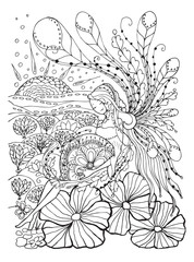 Adult coloring book page with Pregnant lady.Pregnancy in doodle style