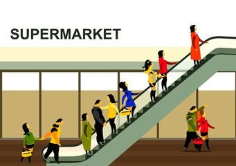 people rise on the escalator