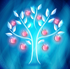 Apple tree with red apples on a abstract blue background