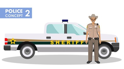 Policeman concept. Detailed illustration of sheriff and police car in flat style on white background. Vector illustration.