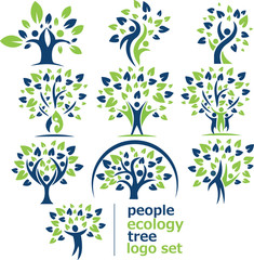 people ecology tree logo set