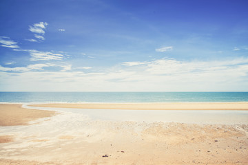 Tropical white sandy beach at sunny day. (Vintage filter effect