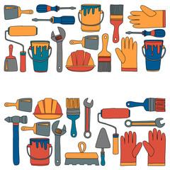 Repair and renovation tools Hand drawn vector icons