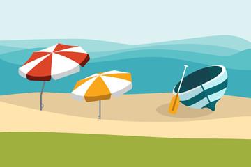 Summer beach with color umbrellas. Flat design.