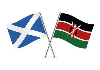 Scottish and Kenyan flags. Vector illustration.