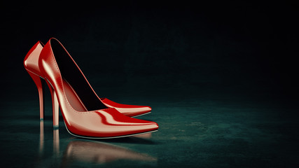Red shoes. 3d rendering