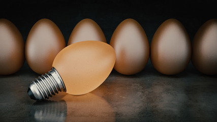 Funny and crazy egg looking like electric bulb. 3d Rendering