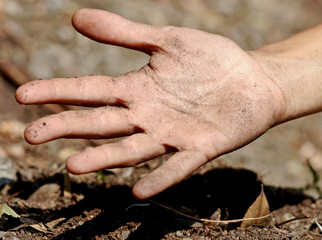 Dirty soil hand