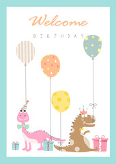 Set of birthday cards,poster,template,greeting cards,animals,dinosaurs,eggs,Vector illustrations