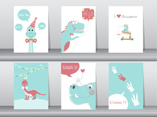 Set of cute cards,poster,template,greeting cards,animals,dinosaurs,Vector illustrations