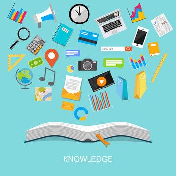 Knowledge. flat design illustration concept.