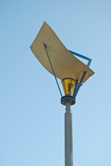 street lamp post in blue sky background