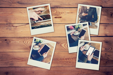 Frame photos of woman using phone and tablet set in coffee shop