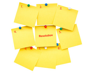 Sticky yellow blank note Resolution for New year on isolated wit