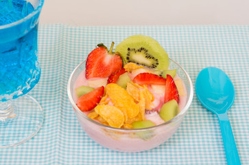 ice yogurt and fruits in cup style and drink