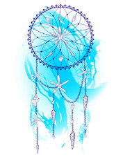 Handdrawn dream catcher with seashells and watercolor effect. Summer concept. Bohemian style. Vector illustration