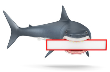 3d shark on a white background