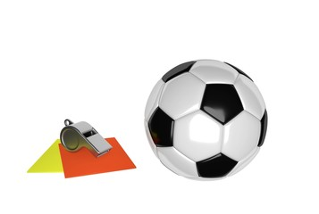 soccer ball and cards
