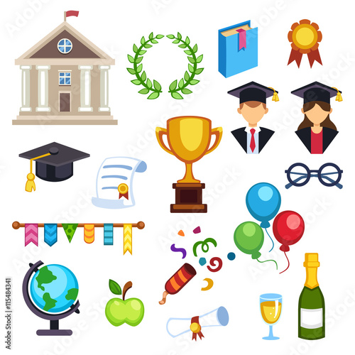 """Education school graduation icons on white background ..."