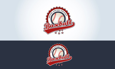 Red, white and blue, baseball logo sports bar