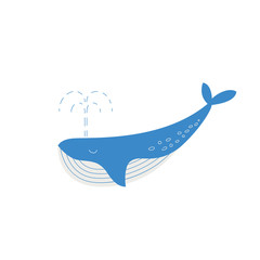 Vector whale in flat style