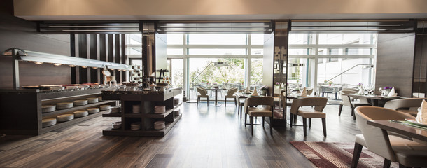 Obraz Modern restaurant interior,breakfast buffet - fototapety do salonu