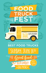 Food truck party invitation. Food menu template design. Food flyer.