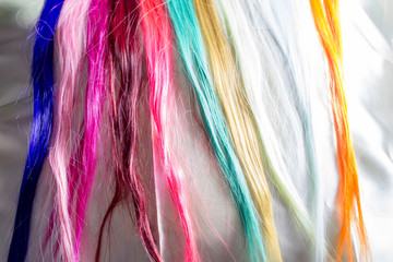 Colorful Synthetic Hair Strands Macro