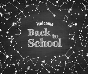Constellations vector pattern with words Back to School on blackboard. Scientific vector background