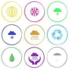 globe, snowflake, thunderstorm, snowfall, rain, recycle symbol,