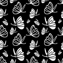 Seamless pattern with butterfly. Vector clip art.