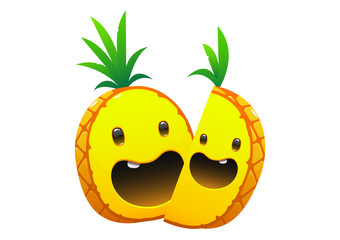 pineapple delicious juicy bright cartoon two face