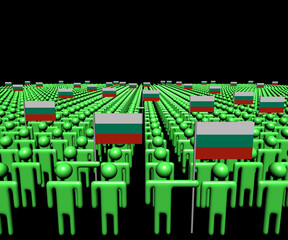 Crowd of abstract people with many Bulgarian flags illustration