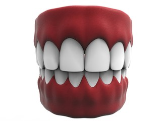 3d illustration of closed gum with teeth and tongue. icon for game web. white background isolated. colored and cute. anatomy part of the mouth.