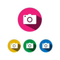 Compact camera icon with shadow on colored circles
