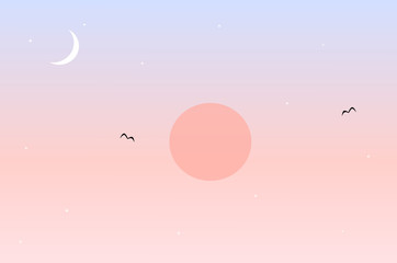 pink and blue sunset landscape with sun moon and stars background romantic illustration