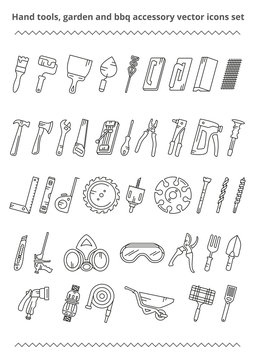 Vector outline icons set hand tools, garden and bbq accessory