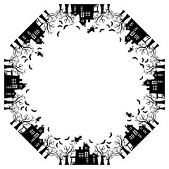 Round frame with Halloween house. Vector clip art.