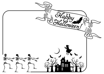 Frame with halloween house and skeleton. Vector clip art.