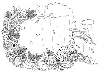 Vector illustration Zen Tangle, girl sitting on apples, is rain. Doodle flowers. Coloring book anti stress for adults. Black white.