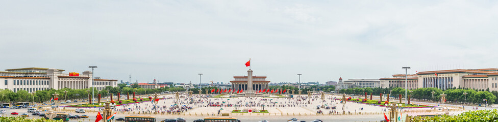 Panoramic view of Tiananmen Square, one of the world's largest city square