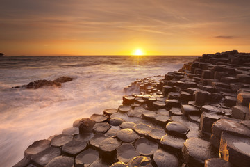 The Giant's Causeway in Northern Ireland at sunset