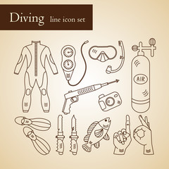 Vector line icons with diving equipment