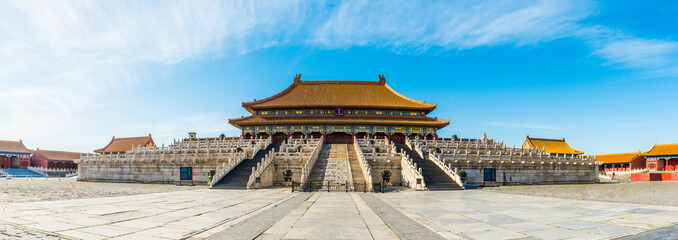 panoramic view of the Forbidden City. it is a very famous landmark in Beijing.