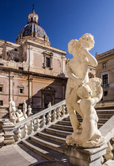 Palermo Fontana Pretoria, Sicily, Italy. Historical buildings